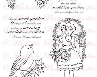Digital stamp Set  Images Secret Garden Flowers Birds Robin Key Door stamping scrapbooking cardmaking