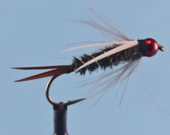 3-pack Red Head Prince Nymph, size 8 Prince Nymph, Tungsten Prince Nymph, fly fishing flies, bead head nymph, Tungsten nymph, Trout flies