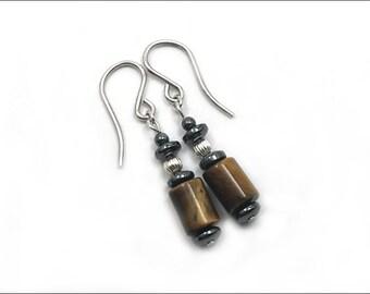 Tiger Eye Earrings - Tiger Eye Cylinder with Hematite
