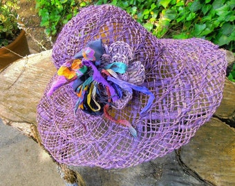 Lavender Albaca Straw with Crocheted Flower Corsage
