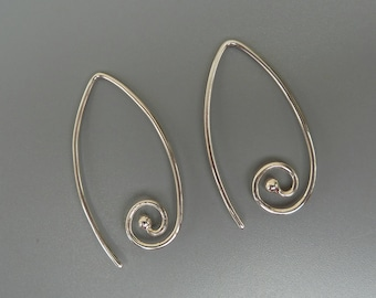 Marquis Spiral Earrings, Interchangeable Earrings, Silver Ear Wires For Earring Charms, Sterling Silver Earrings, Changeable Earring Charms
