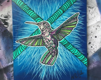 "Hummingbird Painting - ""12X16"" - Abstract Acrylic Painting"