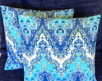 Blue and White Sari Print Pillow Covers - 16 x16 Set of 2- Ready to Ship