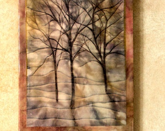 Encaustic art - Francine's trees  - encaustic with hand painted fabric