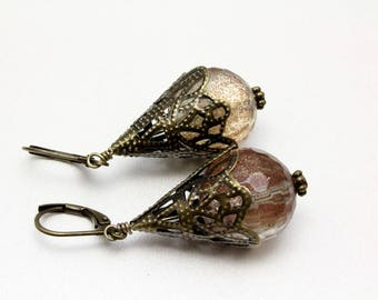 Sunstone Earrings, Vintage Look Earrings, Antique Bronze, Golden Earrings