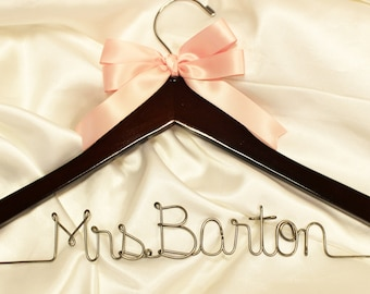Wedding dress hanger, custom bridal hanger,  wedding hanger,  wedding name hanger,  personalized wedding, wire name hanger, gift for bride