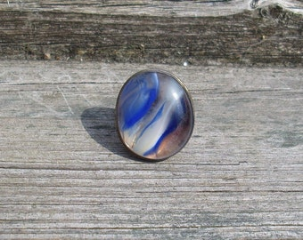 Glass Cabochon Ring blue, white and pink