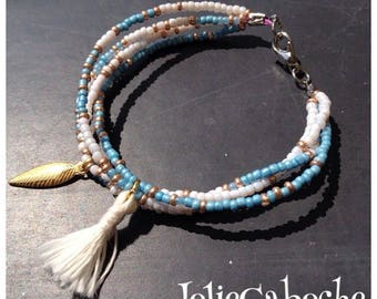 Blue seed beads Cuff Bracelet