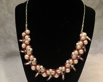 Pink and Pearl Woven Statement Necklace