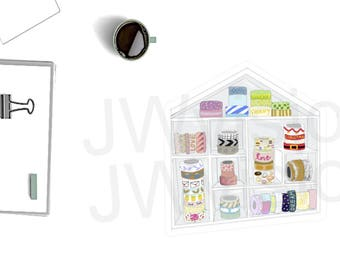 SINGLE washi storage card stock die cut