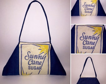 Vintage Sunny Cane Sugar Purse Bag Shoulderbag Vintage Sugar Bag and Denim