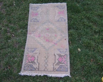 Turkish Rug 1x2 Beige Wool Pile Small Vintage Rug Hand Knotted Semi Antique Area Rug -GWEN0102
