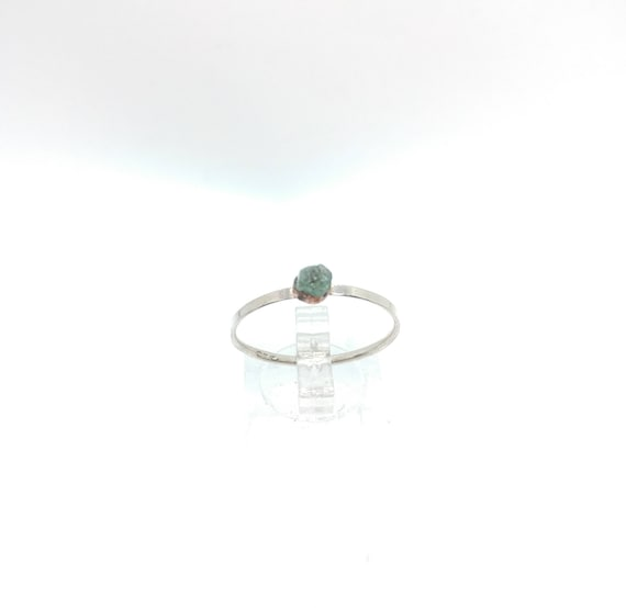 Raw Aquamarine Stacking Ring | Mixed Metal Sterling Silver Ring Sz 11 | Raw Blue Aquamarine Ring | Raw Stone Ring | Raw Stone Stacking Ring