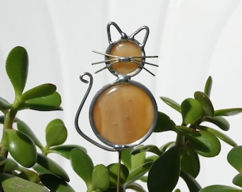 Stained Glass Marmalade Cat Plant Stake, Garden Art