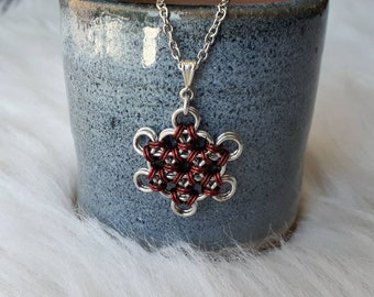 Japanese Flower Weave | Chainmaille Pendant