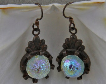 Handmade Rusty Black And Blue Crystal Dangle Earrings 14mm Iridescent Blue Glass Cabochons Niobium Hooks