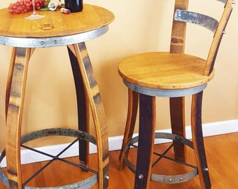 "Wine Barrel Stool W/ Back Rest Specify 24"" 26"" 30"" Rustic Furniture Home Decor Patio Bar"