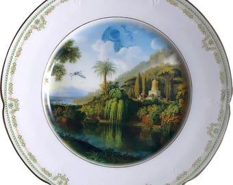 Death Star Landscape - R2D2 - C3PO - Star Wars - Vintage Porcelain Plate - #0568