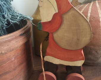 FOLK ART// Primitive// Handmade SANTA W/Sac// Bear// Hand Painted// Wooden Pull Toy// Attached Wooden Ball Cord// Awesome Find!