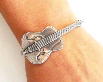 Steampunk Guitar Bracelet- Sterling Silver Finish or Brass Finish