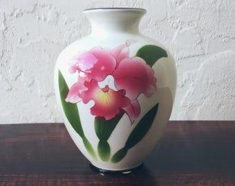 Vintage Hand Painted Japanese Pink Iris Vase