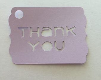 Thank You Tags purple cut out set of 25