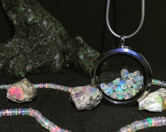 Ethiopian Opal Rondelle Locket with Solid 925 Silver 20inch Chain