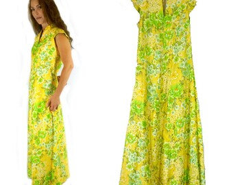 Hawaiian Dress, Vintage Hilo Hattie, Maxi Length Aloha Dress, Yellow and Green, 1980s Size Small, Womens 32 Inch Bust
