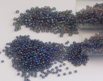 Black Diamond AB Glass Seed Beads Size 8 and 11 // Gray Aurora Borealis Seed Beads 8/0 and 11/0
