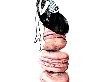 Miss Macaroon Fashion Illustration Art Print