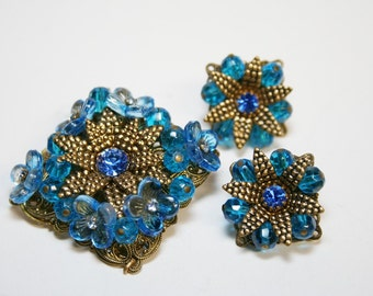 Blue By You - Vintage Western Germany Demi Parure - Signed