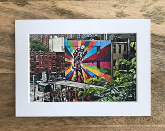 "View from High Line Park, The Kiss, New York, 4""x6"" Matted Print"
