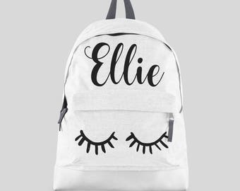 Personalised Lashes Backpack with ANY NAME- Kids Children Teenagers School Student rucksack - Back To School Bag Backpack Girls Gift -CBPEY