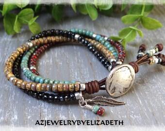 Native American Jewelry/ Boho Beaded Wrap Bracelet/ Gifts For Her/ Seed Bead Leather Wrap Bracelet Southwestern Style /Leather Bracelet.