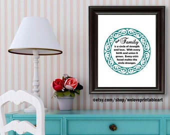 Family Quote Printable, Family Quote Sign, Family Wall Decor, Family Wall Art, Strength & Love, Teal Wall Art, Family Home Decor, Gift Ideas