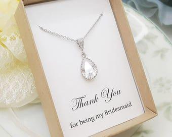 Teardrop Crystal Bridesmaid Necklace,Bridesmaid Jewelry Gift, Bridesmaid Necklace Gift
