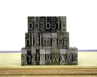 Vintage Metal Letterpress Letters Lowercase Alphabet Typeface Pick Your Letters