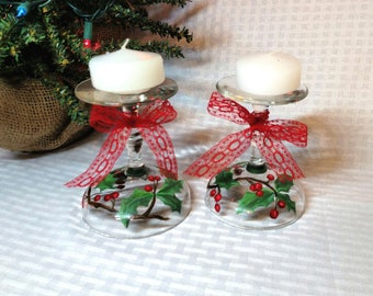 Christmas Candle Holder, Holiday Table Decor, Xmas Decor, Christmas Candle for Table, Holiday Candle, Christmas Decor, Christmas Table Decor