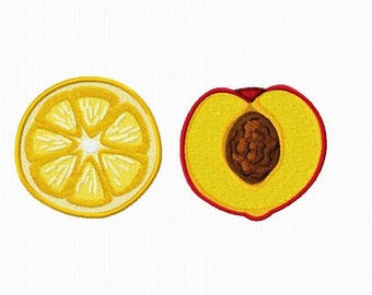 2 embroidery designs of a slice of orange and peach for machine embroidery format 4 x 4