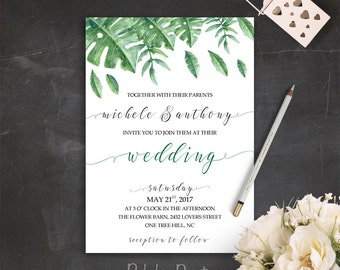 Printable Wedding Invite Green Wedding Invitation Suite Garden Wedding Invitation Set Greenery Wedding Invites Outdoor Wedding Invitations