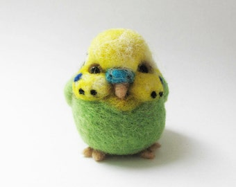 Needle felted green budgie