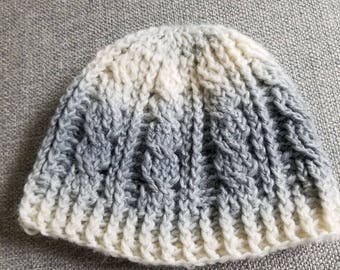 Gray and Cream colored Crocheted Beanie
