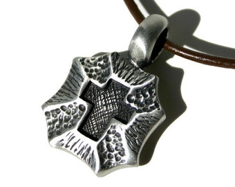 Leather Surfer Necklace With Pewter Cross on a Shield Round Cord
