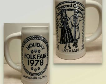 Holiday Folk Fair 1978 Milwaukee Wisconsin Large Stein Featuring Latvia Vintage Excellent Condition!