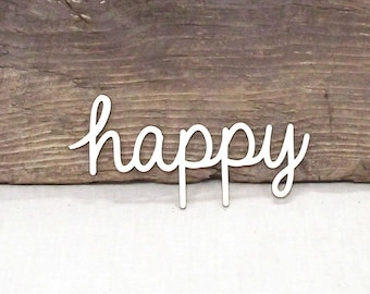 "Great ""Happy"" Wooden Laser Cut Word For Wood Crafts, Signs, Scrapbooking Etc. - 5 1/2"" x 2 1/2"""