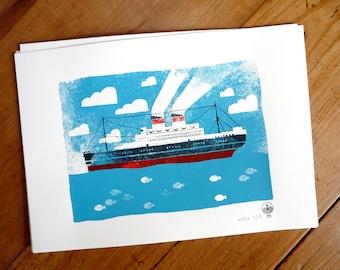 Poster Vintage OCEAN LINER   Print / Art Print / Wall Art / Silkscreen Print / A4 size   MERMADE