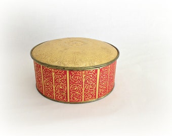 Vintage Metal Tin Box Gold and Red Guildcraft Sewing Box Jewelry Box Biscuit Tin