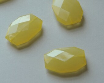 Lemon Yellow, Faceted Acrylic Beads, Chunky Beads, 34x24mm,Translucent Acrylic Flat Polygon, Nugget Beads, 10 Pieces, Fast Shipping from USA