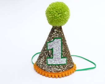 First Birthday Hat Orange and Green| 1st Birthday | Baby birthday | photo prop smash cake hat | First Birthday party hat | Birthday boy |