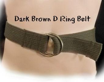 Braun D-Ring-Gürtel, D Ring Gürtel - brauner Canvas Gürtel - braun unisex Breitband - braun breiten Gürtel, Brauner Gürtel - Größe bis zu 38 Zoll, # B 13